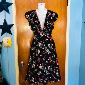 Trashy Diva Dresses - Trashy Diva 2 Doris Midi Cherry Pin Up Dress